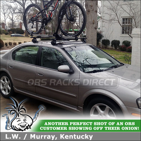 Inno IN-SU Roof Rack and Thule 594XT Side Arm Bike Rack on 2002 Nissan Maxima