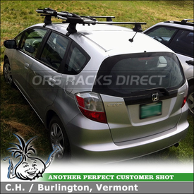 Kayak J-Cradles for Honda Fit Roof Rack Cross Bars using Thule 835PRO Hull-a-Port, 480 Traverse Foot Pack, 1465 Fit Kit and LB50 Load Bars