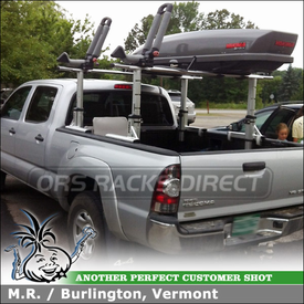 Kayak Mount & Cargo Box for Toyota Tacoma Truck Rack Crossbars using Thule 422XT Xsporter Ladder Rack, Yakima SkyBox Pro12 Roof Box & BowDown Kayak Cradles