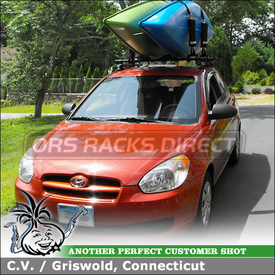 Kayak Rack for 2 Kayaks On 2008 Hyundai Accent Roof Rack Crossbars using Inno IN-SU Stays, K214 Fit Hooks, B117 Bars, IN-JK Joint Bars and INA450 Kayaks Holder