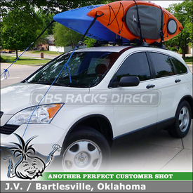 Kayak Rack On 2008 Honda CRV Factory Installed Cross Bars using Thule 830 'The Stacker' Kayak Stacker, 855XT Quick-Draw Straps and Inno INA451 Cradle Stops