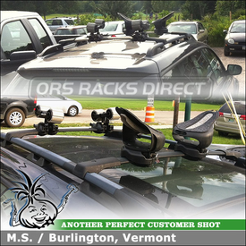 Kayak Rack Saddles & Kayak Roller for Subaru Outback Factory Cross Bars using Yakima Mako Aero Saddles, HullyRollers & Universal Mighty Mounts