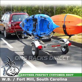 Kayak Trailer for 2011 Subaru Forester Hitch Receiver using Malone MicroSport Tow Trailer and AutoLoader Kayak J-Cradles