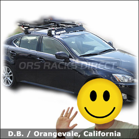 Lexus IS350 Bike Roof Rack with Yakima Q Towers, Fairing and Yakima SteelHead Bike Carriers