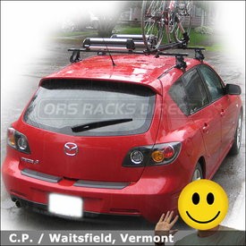 Mazda 3 Roof Rack for Bike, Skis & Snowboard with Thule 400XT System, 91724 Universal Flat Top & 599XTR Big Mouth