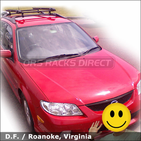 Mazda Protege 5 Bike Rack for Factory Bars with Thule 532 Ride-On Factory Rack Adapter & Thule Bike Carriers