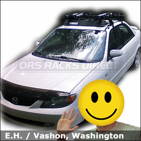 Mazda Protege Roof Rack for Bikes with Thule 400XT Base System, 871XT Fairing and Thule 599XTR Big Mouth Bike Racks