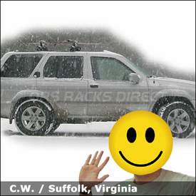 Nissan Pathfinder Roof Rack for Skis & Snowboards with Yakima Control Towers System & Big Powderhound