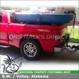Pickup Truck Bed Rack Crossbars & Trailer Hitch Receiver for 2012 Toyota Tundra TRD Sport using 15198 CURT Hitch & Inno RT102 Truck Rack