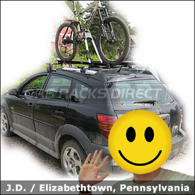 Pontiac Vibe Bike Roof Rack with Yakima Q Towers 1/2 Pack & Yakima Lowrider 1/2 Pack and Thule 599XTR Big Mouth