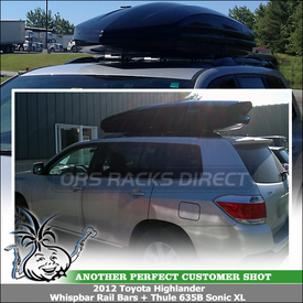 Quiet-Lockable Cartop Rack Cargo Pod for Factory Side Rails on 2012 Toyota Highlander