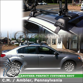 RockyMounts Bike Rack and Whispbar Roof Rack Cross Bars on 2007 Subaru Legacy - S7 Flush Bar, K467 Fitting Kit, TieRod