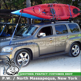 Roof Kayak Rack for 2011 Chevy HHR Factory Side Rails - 2 Thule 834 Hull-a-Ports and 45050 CrossRoads