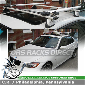 Roof Rack AeroBlade Crossbars + 2 Bike Mounts for 2007 BMW 335xi Fixed-Points using Thule 460R Foot Pack, 3028 Podium Fit Kit, ARB47 Load Bars & RockyMounts Euro Pitchfork