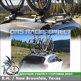Roof Rack AeroBlade Crossbars + 2 Bike Racks for 2012 Subaru Impreza Sport using Thule 450R Rapid CrossRoad Foot Pack, ARB53 AeroBlades & Yakima FrontLoader