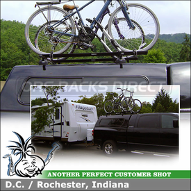 Roof Rack Bike Mounts for 2007 Dodge Ram 2500 Mega Cab Truck Shell using Thule 460 Podium (w/ 3113 Fit Kit, LB58 Load Bars) & 599XTR Big Mouth