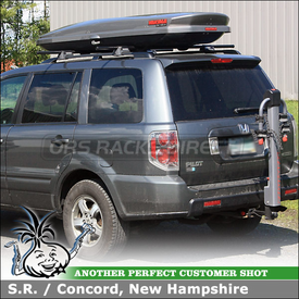Roof Rack Cargo Box and Trailer Hitch Bike Rack for Honda Pilot using Yakima DoubeDown Ace, RailGrab Towers & LoPro Luggage Box
