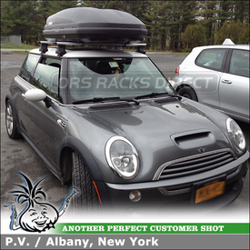 Roof Rack Cargo Box for 2003 Mini Cooper using Thule 480R Foot Pack, 1366 Fit Kit, ARB47 AeroBlade Bars and 604 Ascent 1600 Roof Box