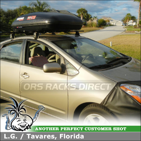 "Roof Rack Cargo-Luggage Box for 2007 Toyota Prius using Yakima Q Towers w/ Q5 & Q124 Clips, 58"" Crossbars & RocketBox Pro 12"