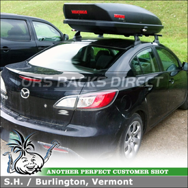 """Roof Rack Cargo-Luggage Box for Mazda 3 Cartop Fixed Points using Yakima Control Towers (w/ Landing Pad 11 & 48"""" Bars) and SkyBox 16 Roof Box"""