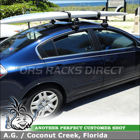 Roof Rack Cross Bars and SUP Pads for 2011 Nissan Altima using Thule 480 Traverse Foot Pack, 1580 Fit Kit, LB50 Load Bars and 802 Surf Pads