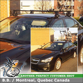 Roof Rack Cross Bars & Bike Rack for 2012 Subaru Impreza using Thule 480 Traverse w/ 1649 Fit Kit, Thule 518 Echelon