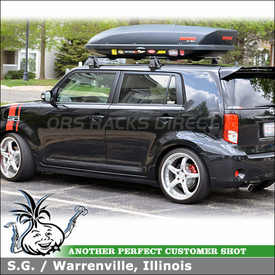 Exceptional Roof Rack Cross Bars U0026 Cargo Luggage Box For 2011 Scion XB Using Yakima Q  Towers