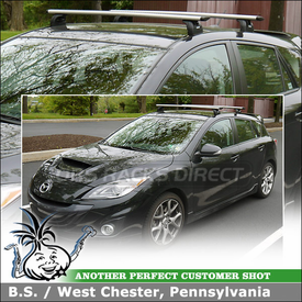 Roof Rack Cross Bars for 2012 Mazda MazdaSpeed3 Fixed-Point Mounts using Thule 460R Rapid Podium Car Rack (w/ 3069 Fit Kit & ARB47 AeroBlade Load Bars)