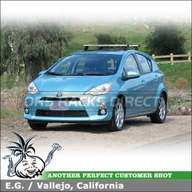 Roof Rack Cross Bars for 2012 Toyota Prius C using Thule 460R Rapid Podium Foot Pack, 3114 Fit Kit & ARB47 AeroBlade Load Bars