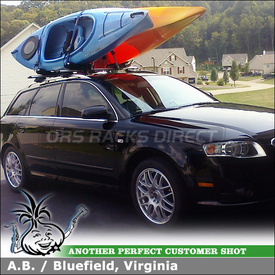 Roof Rack Cross Bars & Kayak Racks for 2008 Audi A4 Avant Side Rails using Thule 450R CrossRoad (w/ ARB47 AeroBlade Bars) and 835PRO Hull-a-Port J-Cradles