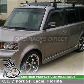"Roof Rack Cross Bars, Load Stops & Wind Fairings for 2005 Scion xB using Yakima Q Towers w/ Q121 Clips & 58"" Bars, Load Stops, Wind Jammer & 50"" Car Fairing"