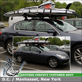 Roof Rack Cross Bars & SUP-Kite Surfboard Rack for 2007 Infiniti G35x using Thule 480 Traverse w/ 1551 Fit Kit, Thule 810 SUP Taxi