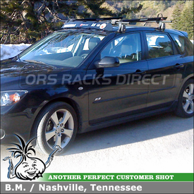 "Roof Rack Crossbars + 2 Bike Mounts for 2006 Mazda 3 using Yakima Q Towers (w/ Q 99 & Q 34 Clips), 44"" Wind Fairing and CopperHead Bike Racks"