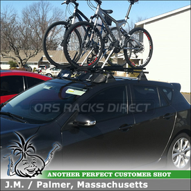 """Roof Rack Crossbars and 2 Bike Racks for 2010 Mazda 3 5DR Hatchback using Yakima Control Towers, LP-11 Landing Pads, 48"""" Bars, Thule 871XT Fairing & SportRack ABR611 Nomads"""