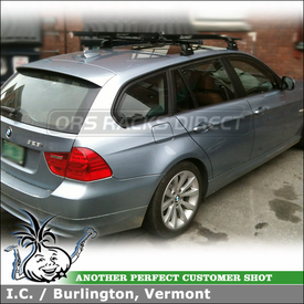Roof Rack Crossbars and Bike Carriers On 2011 BMW 328i Wagon using Thule 460 Podium System (w/ 3028 Fit Kit & LB50 Bars) and RockyMounts Bike Racks