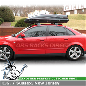 Roof Rack Crossbars and Cargo-Luggage Carrier for 2004 Audi A4 1.8T using Whispbar Flush Bar Car Rack (w/ S5 950 Flush Bar-Smart Foot & K377 Fit Kit) and Thule Atlantis 1600 Box