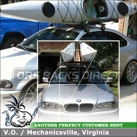 """Roof Rack Crossbars and Kayaks Holder for 2001 BMW 330CI 2-Door using Yakima Q Towers (w/ Q 11 Clips & 48"""" Bars) and Kayak Stacker"""