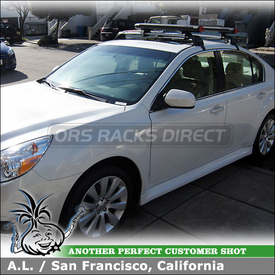 Roof Rack Crossbars and Ski-Snowboard Carrier on 2011 Subaru Legacy using Whispbar Flush Bar Car Rack (w/ S7 1050 FlushBar-Smart Foot & K467 Fit Kit) and Yakima Fat Cat 6