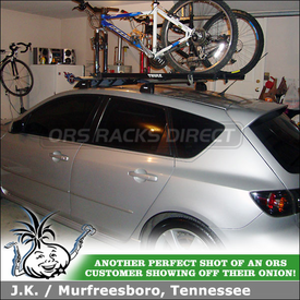 Roof Rack Crossbars & Bike Racks for 2004 Mazda 3 Fix-Points using Thule 460R Rapid Podium Foot Pack, 3069 Fit Kit, ARB47 AeroBlade Bars & Two Thule Bicycle Carriers