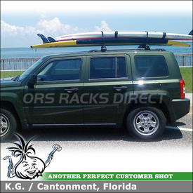 Roof Rack Crossbars for 2008 Jeep Patriot Side Rails to Carry Stand-Up Paddleboards using Inno IN-FR Stays and B117 Crossbars