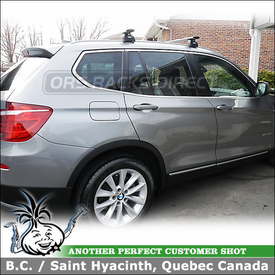 Roof Rack Crossbars for 2011 BMW X3 using Thule 460R Rapid Podium Foot Pack, 4023 Fit Kit and ARB47 AeroBlade Load Bars