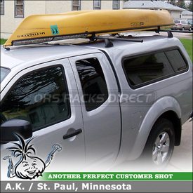 "Roof Rack Crossbars Kayak Carrier for 2011 Nissan Frontier Fiberglass Camper Shell using Yakima Control Towers, Landing Pad 6, 78"" Bars and Load Stops"