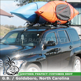 Roof Rack Crossbars & Kayak J-Cradles for 2010 Chevy HHR Factory Side Rails using Inno IN-FR Stays, B107 Cross Bars & Malone AutoLoader Kayak Carriers