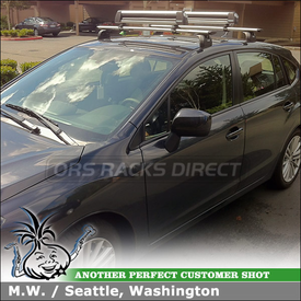 Roof Rack Crossbars Skis-Snowboards Carrier for 2012 Subaru Impreza 5DR using Thule 460R Rapid Podium Foot Pack, 3068 Fit Kit, ARB47 AeroBlade Bars and 91725 Flat Top