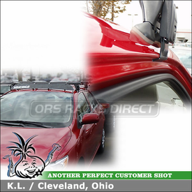 """Roof Rack for 2010 Toyota Corolla using Yakima Q Towers w/ Q5 Clips & Q83 Clips and 44"""" Wind Fairing"""