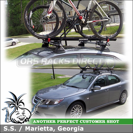 Roof Rack for Bikes On 2008 Saab 9-3 Sedan Using Whispbar HD Bar (w/ K371 Fitting Kit) and Yakima Raptor Aero Bike Racks