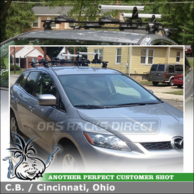 Roof Rack + Kayak Carrier for 2 Kayaks on 2009 Mazda CX-7 Fixpoints using Inno INXR Stays, TR124 Fit Hooks, B127 Bars & INA-450