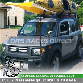 Roof Rack Kayak Mounts U0026 Wind Fairing For 2008 Honda Element Fixed Points  Using Yakima Control