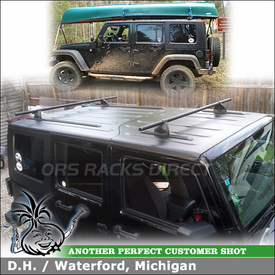"Roof Tracks and Base Rack Cross Bars for 2008 Jeep Wrangler Unlimited Fiberglass Hardtop using Yakima 60"" Tracks & Control Towers (w/ Landing Pads 1 & 58"" Crossbars)"