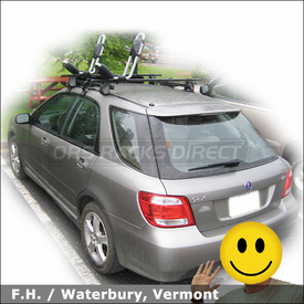 Saab 9-2x Roof Rack for Kayak with Thule 400XT System, 477 Short Roof Kit and 835XTR Hull-a-Port